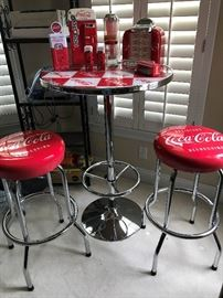 Lots of Eclectic Furniture including this Coca Cola Table and Bar Stool Set