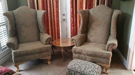 2 Large Arm Chairs, Ottoman (separate)