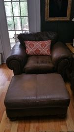 Plush oversized brown/chocolate chair & matching ottoman, nail head trim