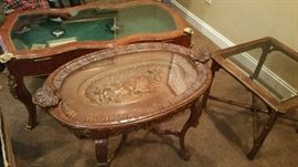 1930's Tea table w/ ornate carving, Antique Coffee table with gold trim and storage/display, side table