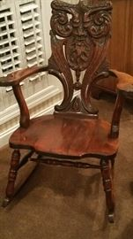 Antique Carved NorthWind Rocking Chair.  Probably early 1900's, made in NY (company label is almost worn off), great condition.