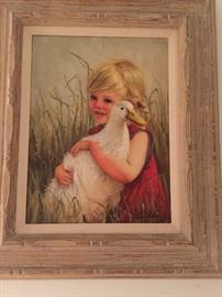 Girl and duck oil painting