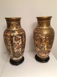 Tsanumi Vases-Gold with School scene