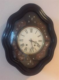 Antique Wall Clock with Mother-of-Pearl Inset