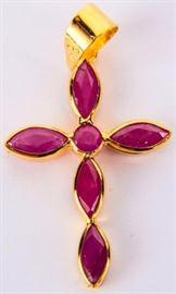 Lot 25 - Jewelry 18kt Yellow Gold Ruby Cross Pendant