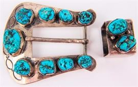 Lot 390 - Jewelry Sterling Silver Turquoise Buckle Set