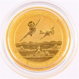 Lot 66 - Coin Pearl Harbor Gold 1/10 .999 Fine Gold Coin