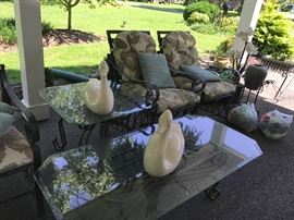 Patio Chairs & Glass Top Tables, Swans