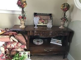 """White Fine Furniture"" Drop Side Server, Flowers, Crystal, Decorative Pillows"