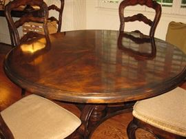 "French Country custom dining table by Lorts - 60"" round with 6 chairs - cushions - rush seats"