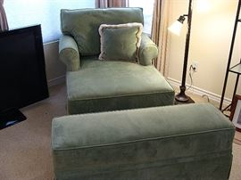 Custom large lounge chair with matching storage ottoman