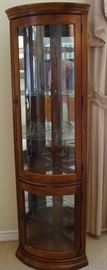 Nice 6ft tall corner china hutch-narrow and lighted