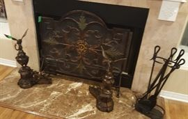 Great bronze and iron fireplace screen with two eagle andirons