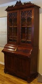 Tall 19th century flame mahogany bookcase/desk..REMOVED!