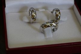 Ring and earrings are white gold and yellow diamonds. Has been appraised by a certified gemologist.