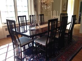 Exquisite Excelsior Italian Dining Set-cost new $20,000! Gorgeous lacquered wood. Stunning. 2 extension leaves; 8 chairs