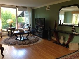 Three televisions, tv stand, electronic equipment, quality 6'round rug