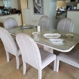 Dining Set with 8 Upholstered Chairs