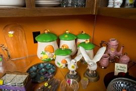 very vintage canister set - hand painted tea set~