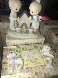 Large collection of Precious Moments figurines. Mostly 1980's era. No chips or cracks. All very well taken care of. All, except those in this photo, are in their boxes.
