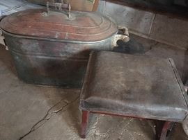 Antique copper wash tub, and leather top footstool (original leather).