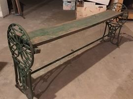 Vintage wooden & metal bench
