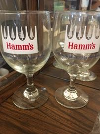 Hamm's beer water/wine glasses