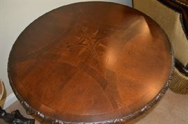 Inlaid Wood Round Table Top