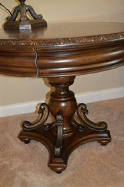 Inlaid Wood Round Table Top with carved wood edge (3)