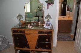 Antique Dresser with Mirror matches headboard