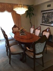 Excellent Condition, Italian Dining Table set.                     with One More Leaf Extension