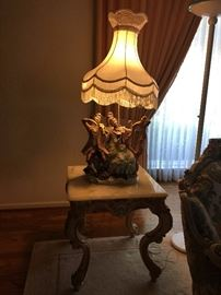 Pair of Italian Ceramic Light and Side Table