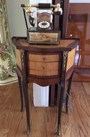 Vintage House Phone decorated with Marble, made in USA.                                                                                          Vintage 3 Drawer Cute Side Table, Embellished with Brass.