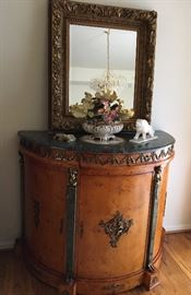 Highly Ornated Wall Mirror.                                                      Marvel Topped Cabinet with One Drawer & Key, Embellished with Marble & Brass.