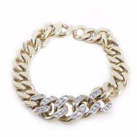 Vintage Cartier 14K Yellow Gold 1.52 CTW Diamond Curb Chain Bracelet