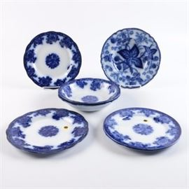 Flow Blue Porcelain Featuring Circa 1880 New Wharf Pottery Co.