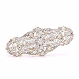 14K White Gold Antique Diamond Brooch