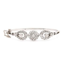 Platinum and 14K White Gold 3.00 CTW Diamond Cuff Bracelet