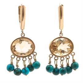 14K Yellow Gold Citrine and Turquoise Dangle Earrings