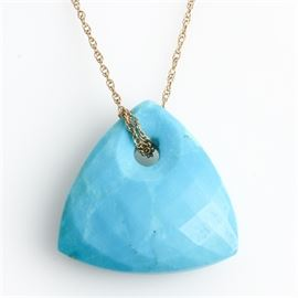 10K Yellow Gold and Faceted Turquoise Pendant Necklace