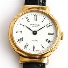 Vintage Raymond Weil 18K Gold Electroplate Wristwatch with Alligator Grain Strap