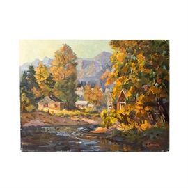 """Judge Ed J. Hummer Original Oil Painting """"Autumn Gold"""": A Judge Ed J. Hummer original oil painting titled Autumn Gold. Depicted in this oil painting on canvas is a small village among the autumn foliage. The painting is signed in the lower right corner and mounted to a wood stretcher. Judge Ed J. Hummer is a Colorado artist and this piece is #1307 in The Complete Works of Colorado Artist Judge Ed J. Hummer. Please see the last photo for artist's biography."""