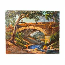 """Judge Ed J. Hummer Original Oil Painting """"Under the Bridge"""": A Judge Ed J. Hummer original oil painting titled Under the Bridge. Depicted in this oil painting on canvas is a stone bridge with people washing clothing beneath it. The painting is signed in the lower left corner and mounted to a wood stretcher. Judge Ed J. Hummer is a Colorado artist and this painting is #2567 in The Complete Works of Colorado Artist Judge Ed J. Hummer. Please see last photo for artist's biography."""