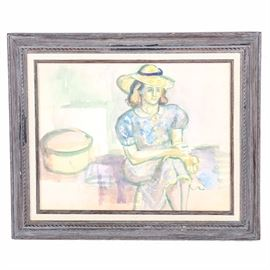 Watercolor on Paper Attributed to Barbara Bernhardt: A watercolor on paper interior scene with lady seated, attributed on verso inscription to Barbara Bernhardt (American, b. 1913). The work is unsigned and is framed and under glass.
