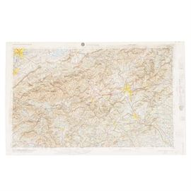 """3-D Topographic Map of Knoxville, Tennessee: A map of Knoxville, Tennessee. This topographical map features raised features throughout, indicating the natural mountains and valleys of the area. The lower corner of the margin is marked """"Produced by Hubbard Scientific Inc., Chippewa Falls, WI 54729."""""""