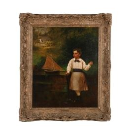 John George Brown Oil Painting on Canvas of a Boy and Sailboat