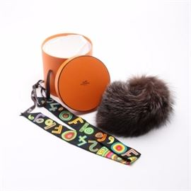 "Hermès Fox Fur Collar and ""Tohu Bohu"" Twilly 24 Faubourg Scarf"