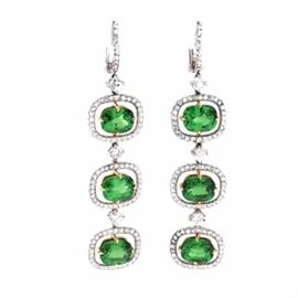 Platinum and 18K Yellow Gold 12.18 CTW Tsavorite Garnet and 2.91 CTW Diamond Dangle Earrings