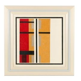 "Robert Hermann Oil Painting on Board ""Windows"": An oil painting on board titled Windows by well-listed American painter Robert Herrmann (1922-1996), executed in 1960. Bold red and yellow tones appear in rectangular forms with black bars forming a square border and through the center. The bars form the appearance of a window. The background is a stark white. Signed, titled and dated to the verso of the canvas and visible throughout a view window. Presented without glass, housed in a white painted wood frame frame with raised light blue moulding."