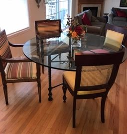 Glass Kitchen Table and Upholstered Chairs
